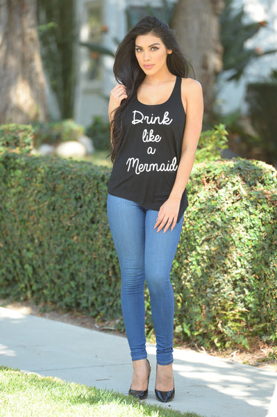 Drink like a Mermaid Tank - Black
