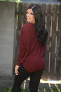 Miracle Mile Sweater - Burgundy Angle 3