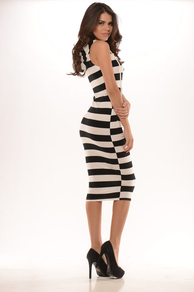Striped Chill Time Dress - Black/White