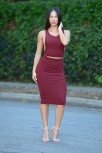 Selene Skirt - Burgundy