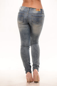 Low Rise Simple Distressed Skinny Jeans - Med Wash