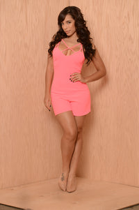 Sugar Crush Romper - Neon Pink