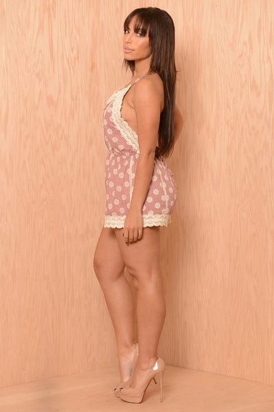 Stamp of Approval Romper - Dusty Rose