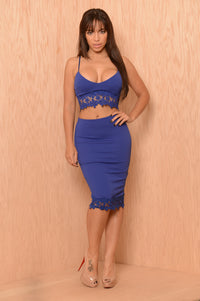 Trimmed Flowers Skirt - Royal