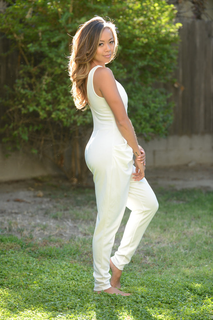 Deep V Long Jumpsuit - Ivory