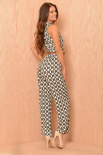 Break the Chain Jumpsuit - White/Black