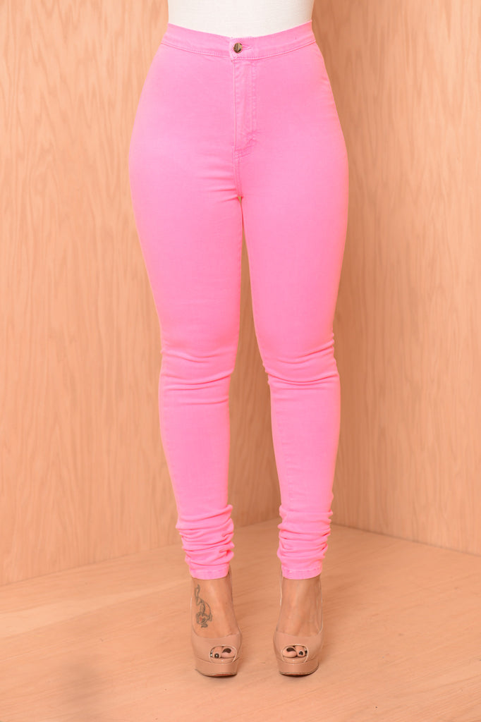 Super High Waist Denim Skinnies - Neon Fuchsia