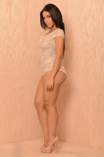 Lace Dreams Bodysuit - Nude