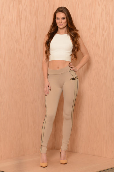Side Stripe Legging - Khaki