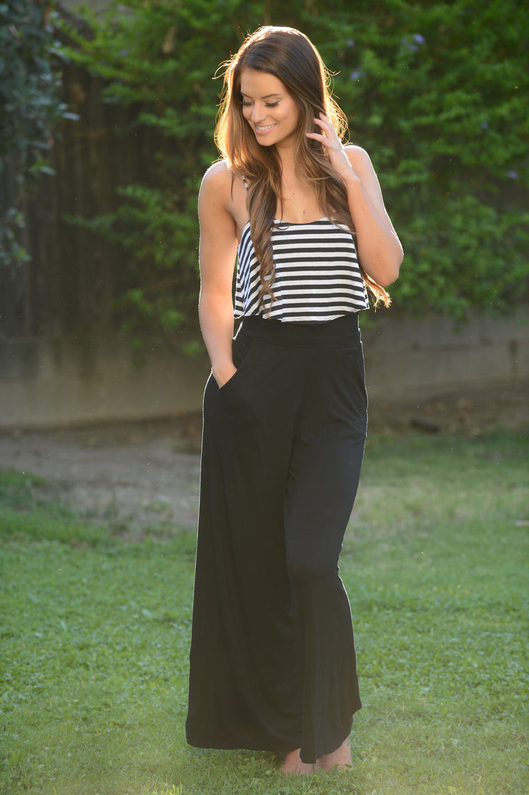 Striped Top Layer Jumpsuit - Black