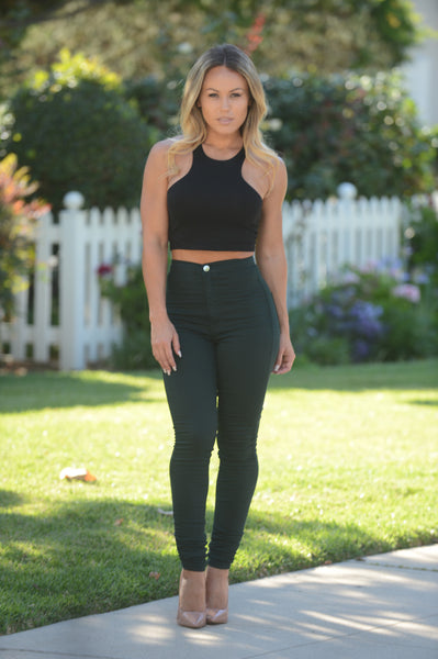 Super High Waist Denim Skinnies - Hunter Green