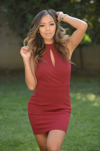 Look at Me Dress - Burgundy Angle 1