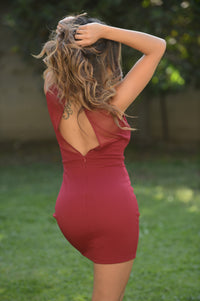 Look at Me Dress - Burgundy Angle 2