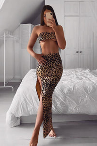 Danger Love Zone Leopard Skirt Set - Brown/combo Angle 1