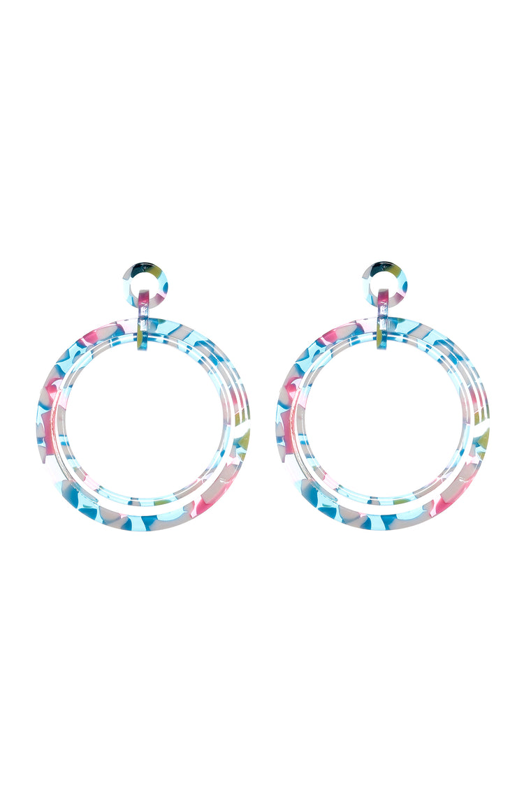Smell The Flowers Hoop Earrings - Blue/Pink