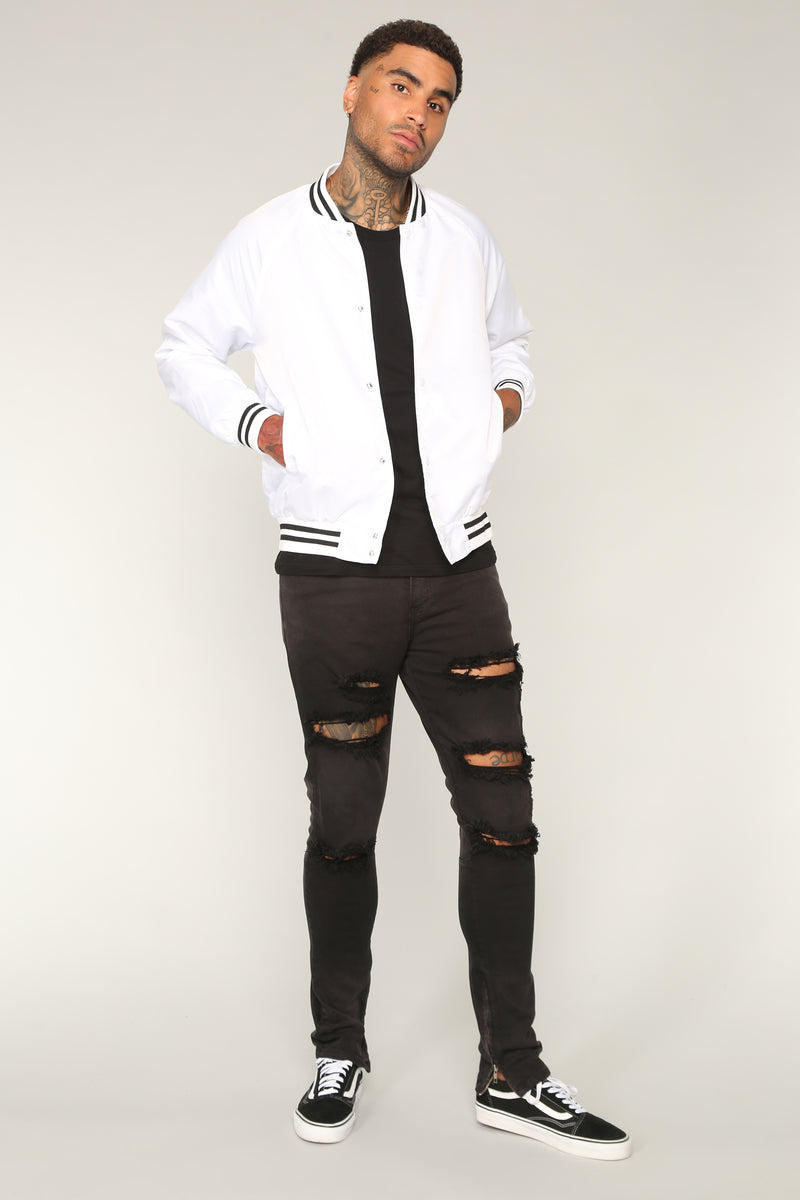 Varsity Jacket - White/Black