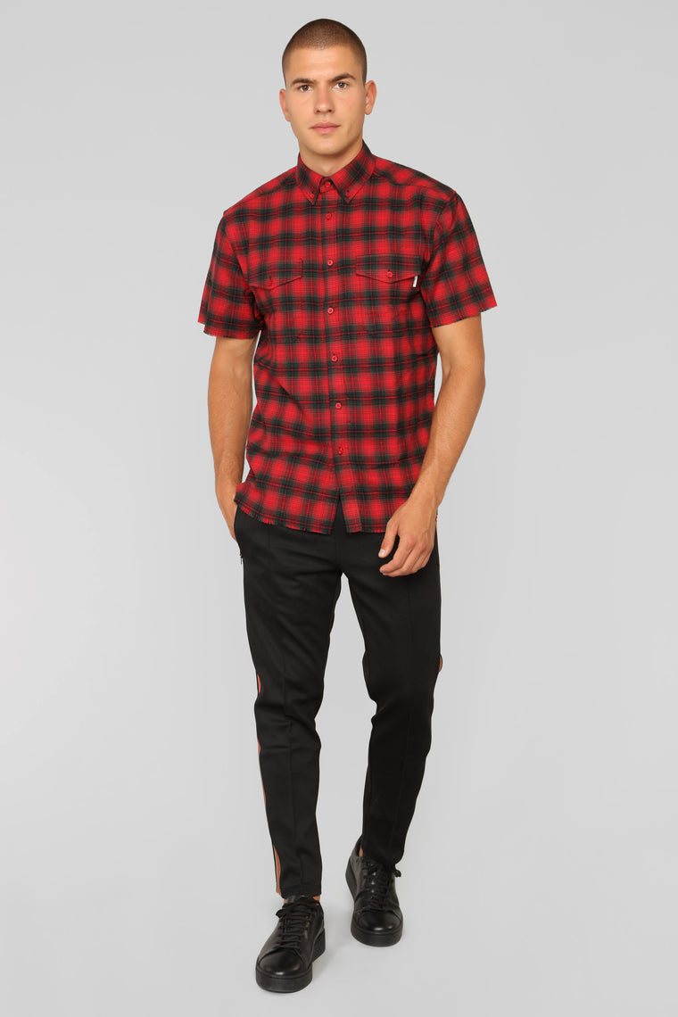 Steve Short Sleeve Flannel Top - Red/Combo