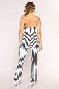 Ring My Bell Jumpsuit - White/Navy