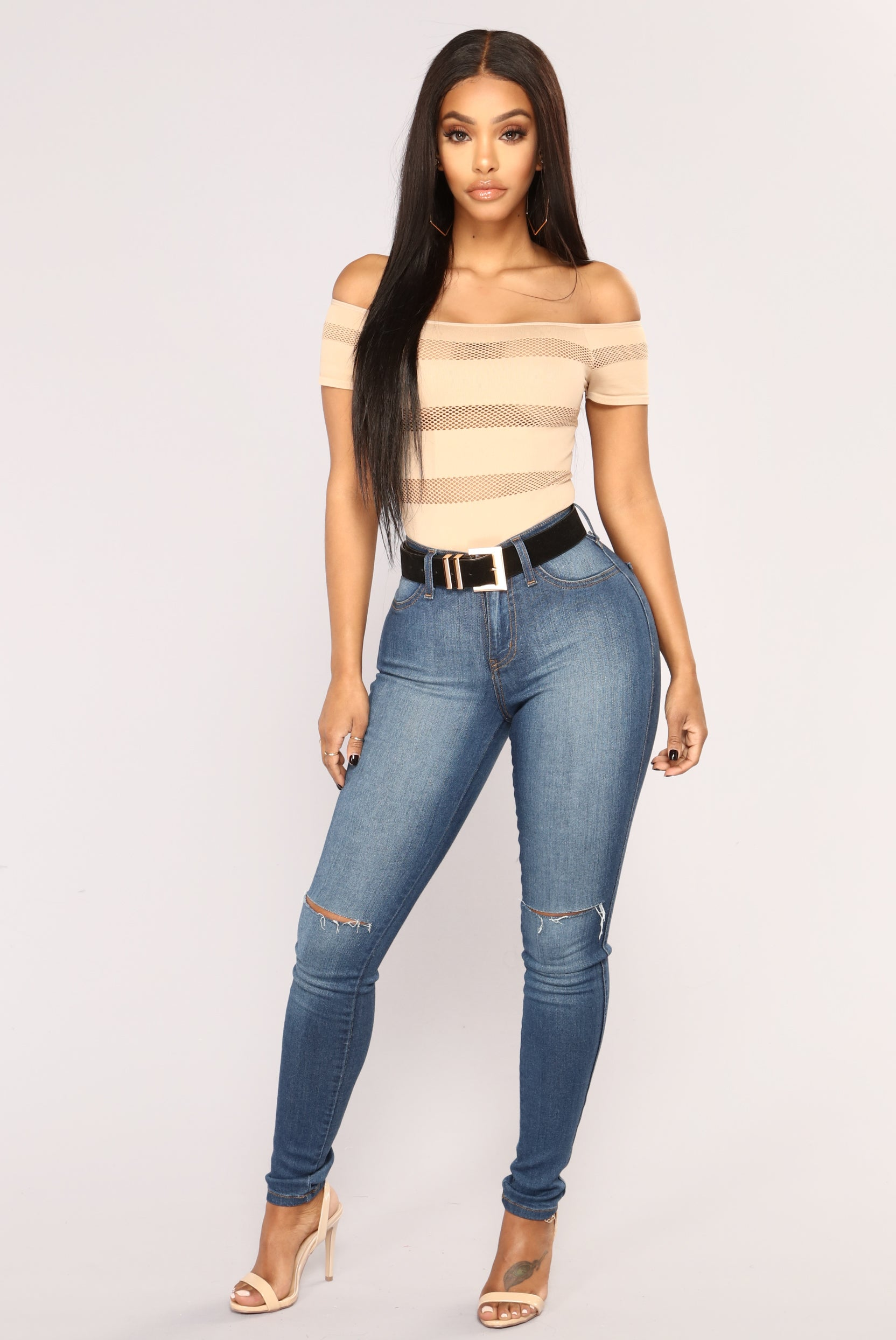 556410bd357 On The Fence Fishnet Bodysuit - Taupe