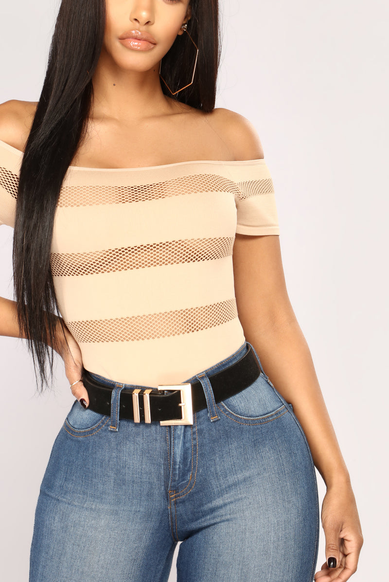 On The Fence Fishnet Bodysuit - Taupe