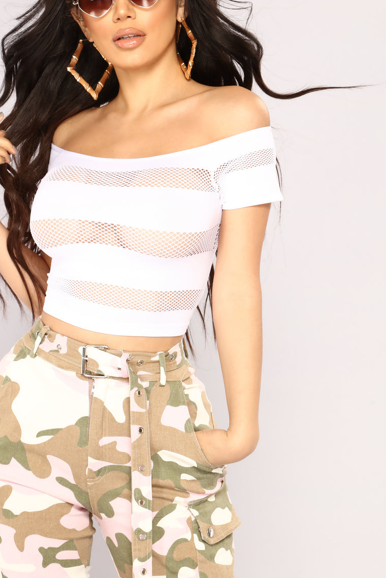 The Meshier The Better Crop Top - White