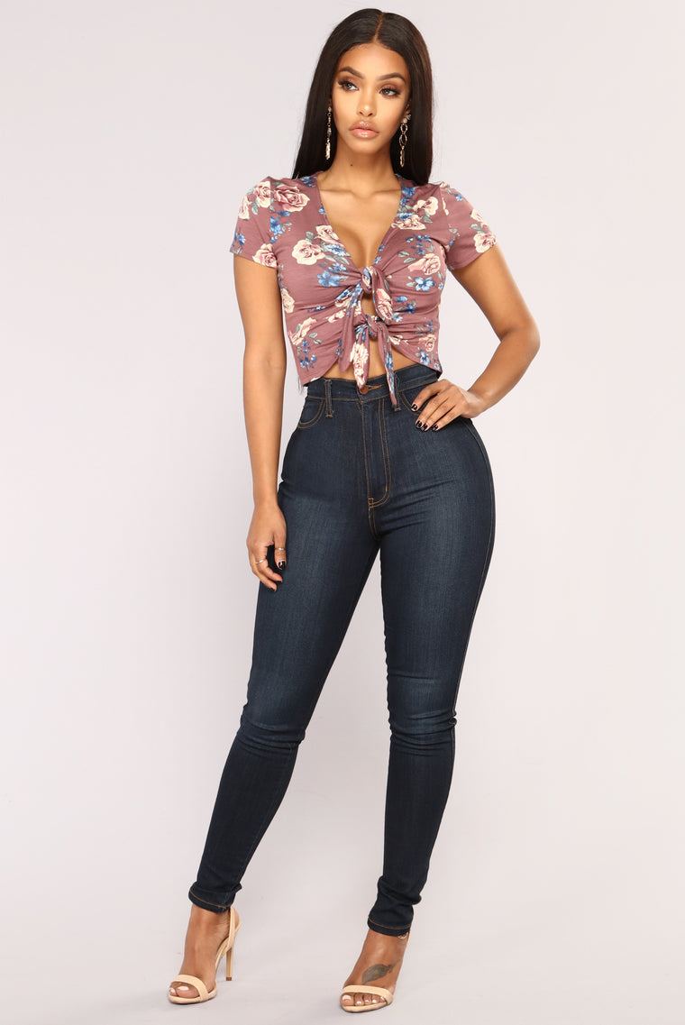 Julia Ruched Floral Crop Top - Plum