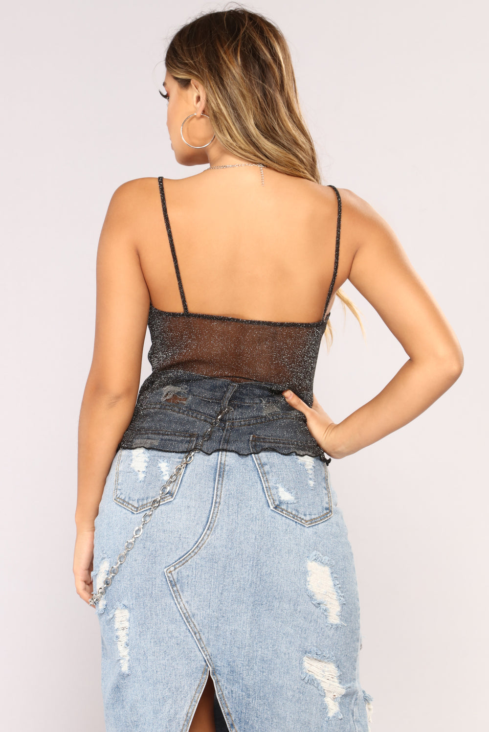 Meshing You Cami - Black
