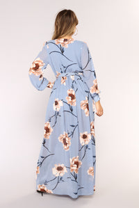 Park Avenue Maxi Dress - Light Blue Angle 4