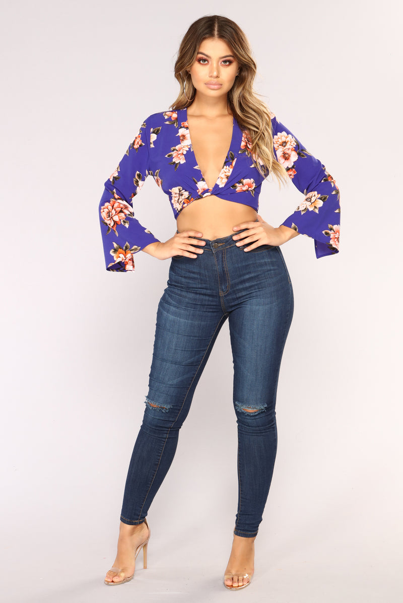 Kyla Crop Top - Royal/Floral