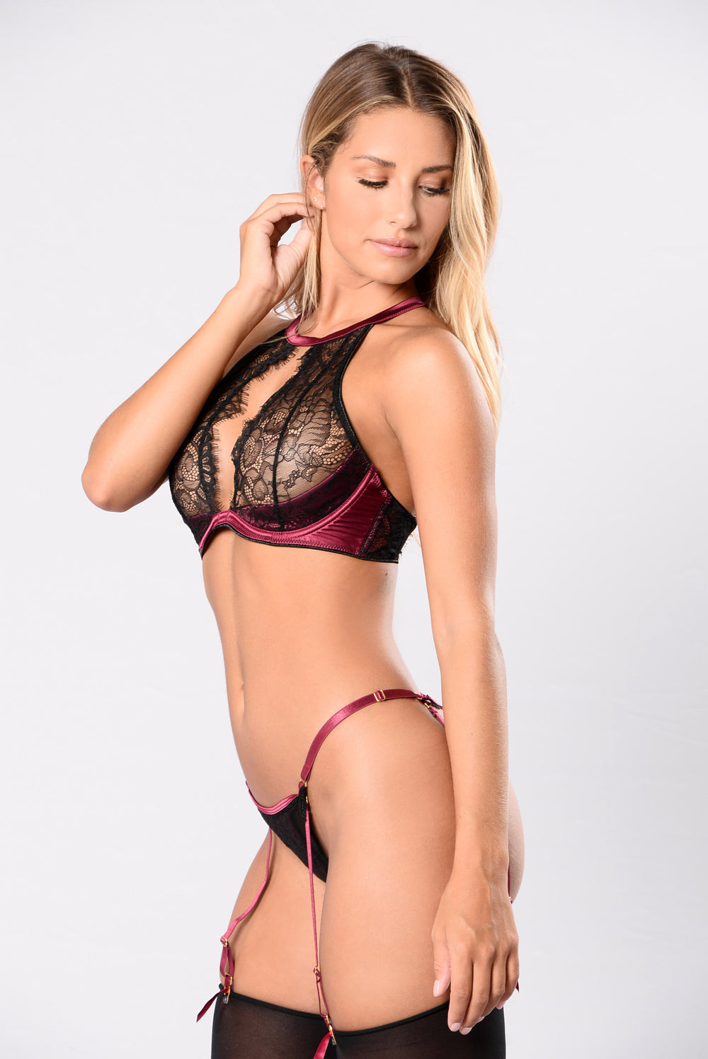 No Clothes On Thong - Cabernet/Black