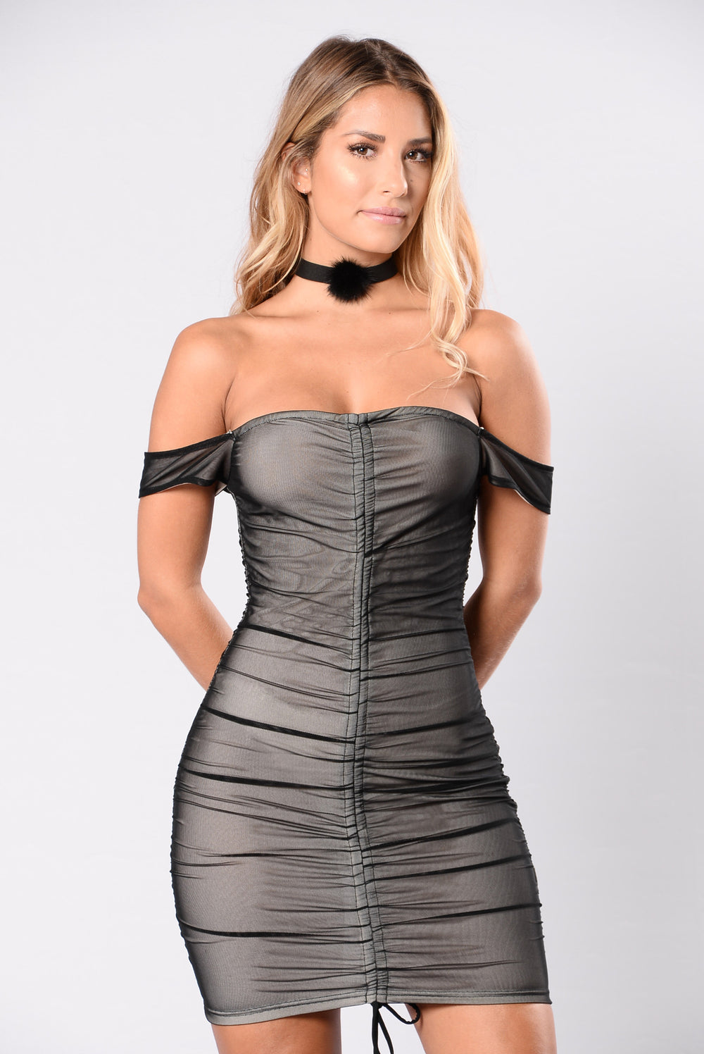 Skin Tight Dress - Black/Nude