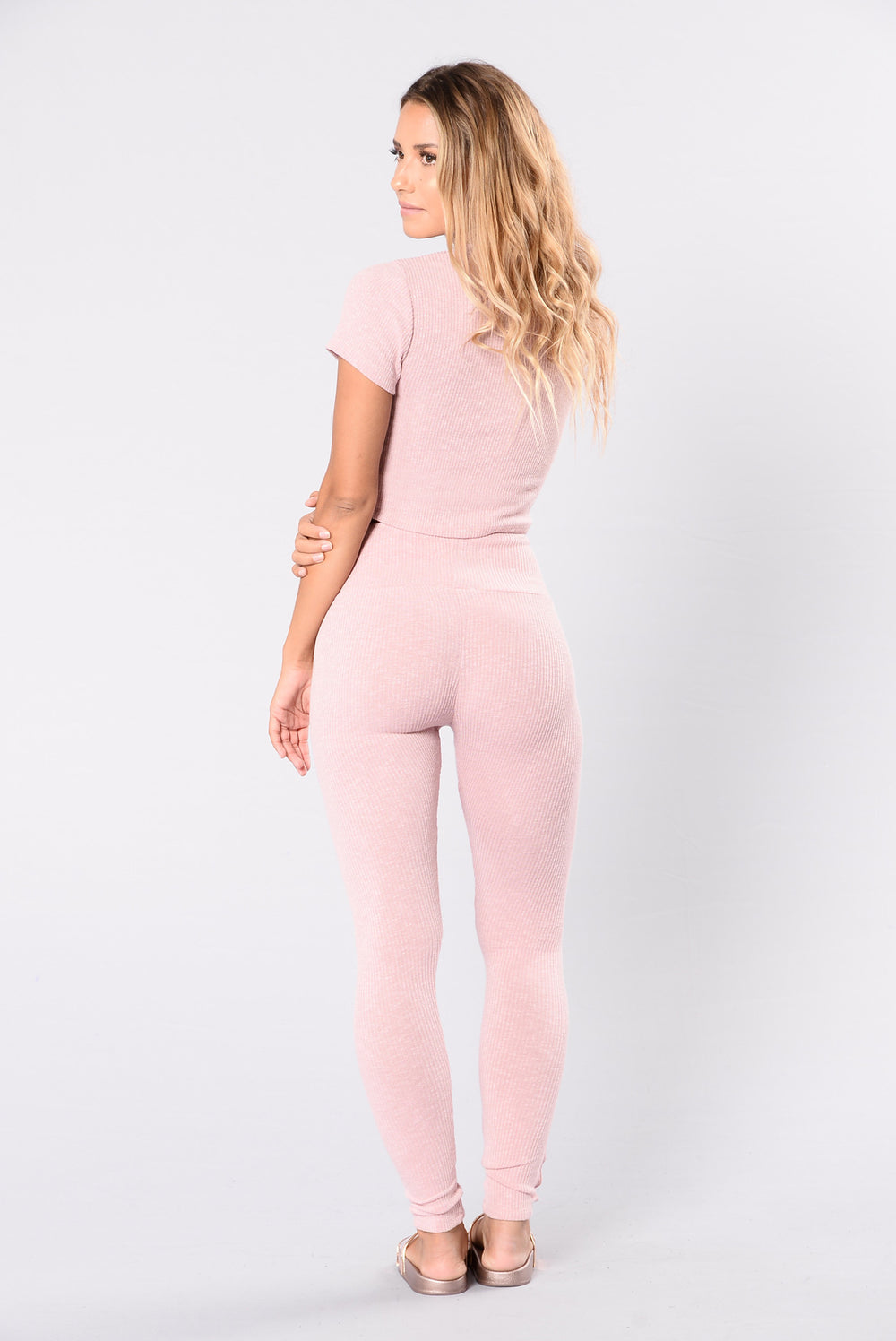 Sexy gym leggings in pink rose blush color