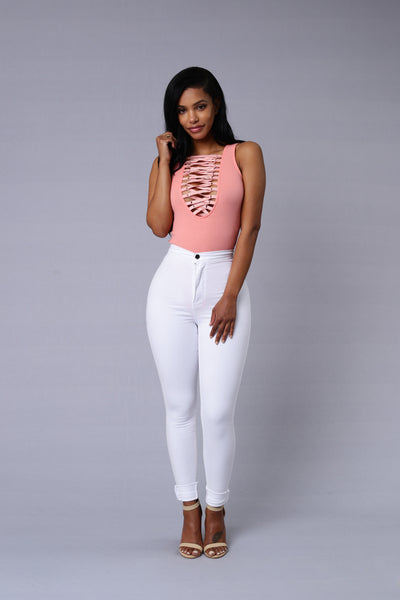 Laces Out Bodysuit - Rose