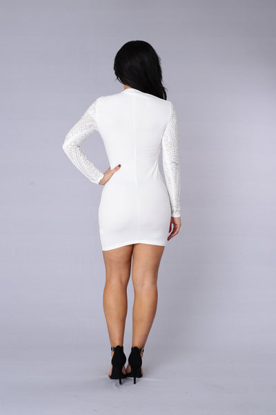 Star Studded Event Dress - White