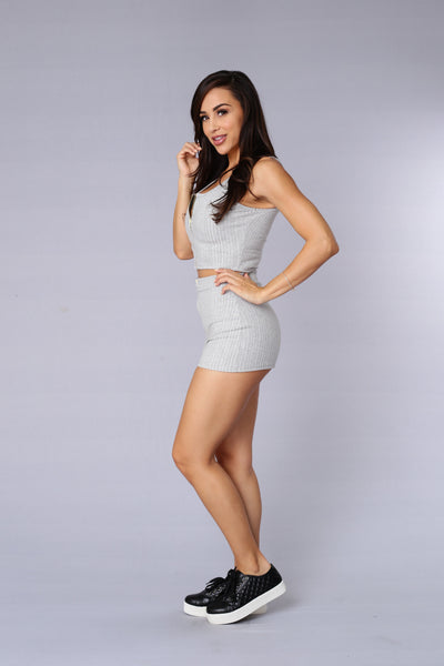 Good Girl Gone Bad Top - Heather Grey