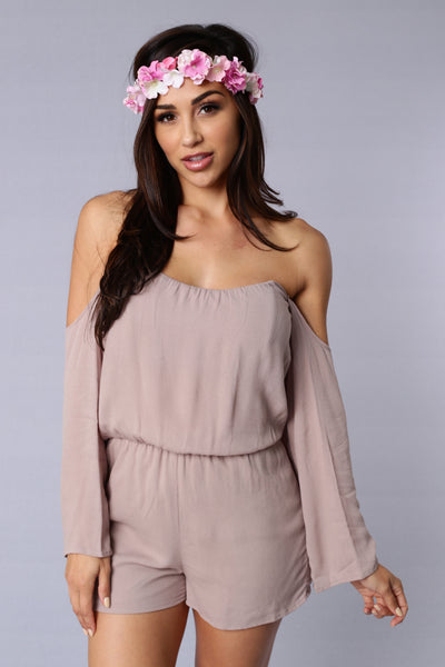 Blown Away Romper - Taupe