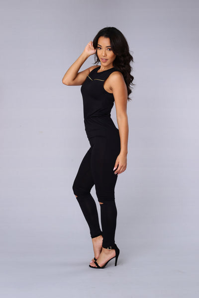 Spur of the Moment Jumpsuit - Black