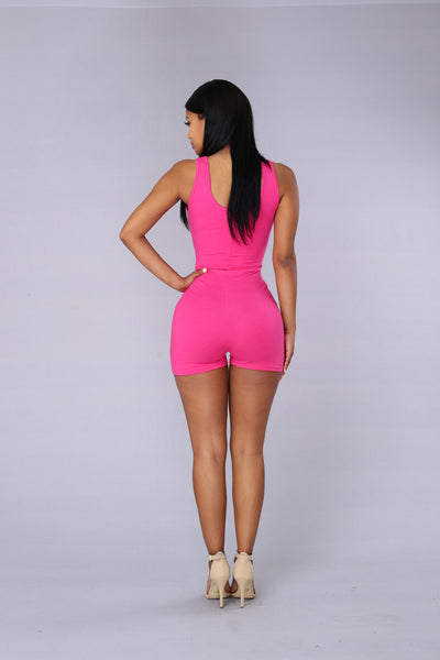 Launch Romper - Fuchsia