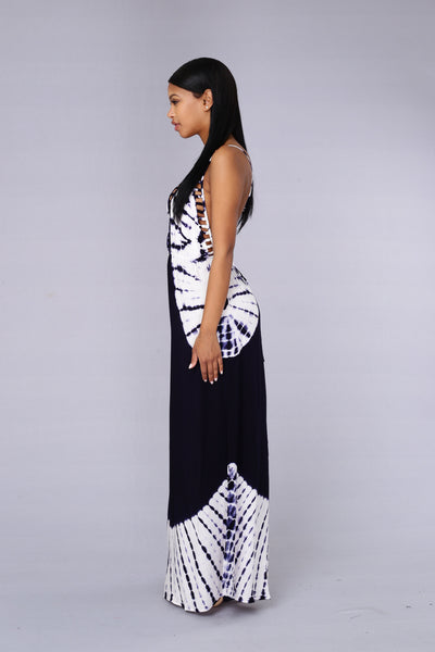 Paradise Dress - Navy/White