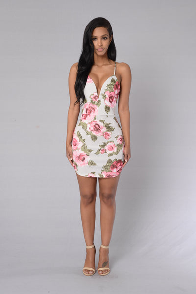 Rose Garden Dress - Grey