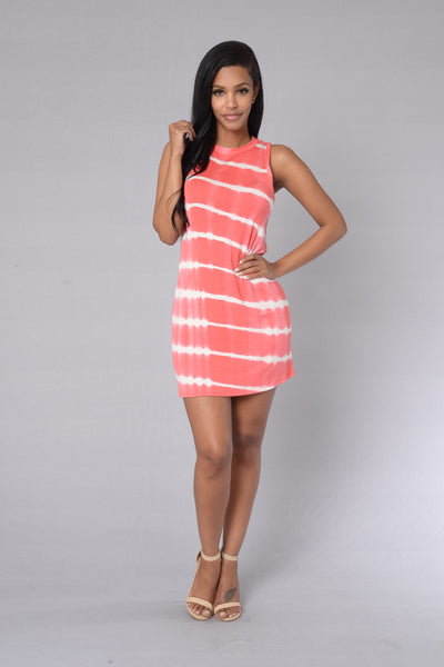 Coolest Spring Dress - Coral/White