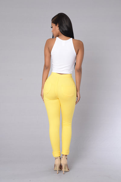 Super High Waist Denim Skinnies - Yellow