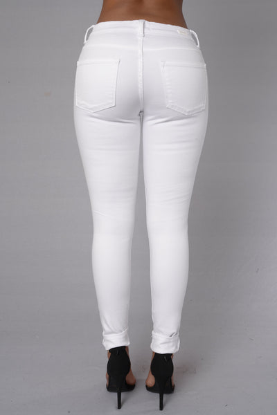 Suns Out Knees Out Jeans - White