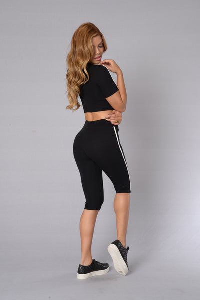 Major League Crop Legging - Black/White