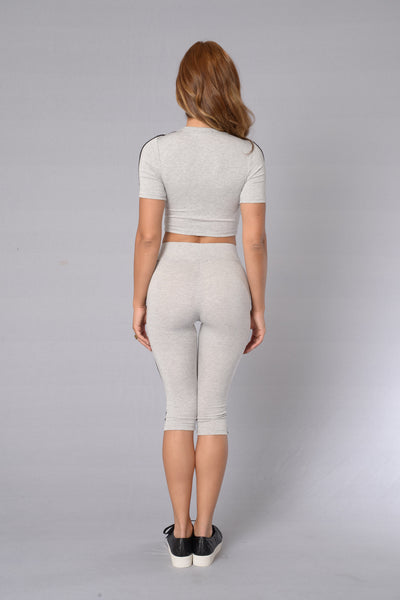 Major League Crop Legging - Heather Grey/Black