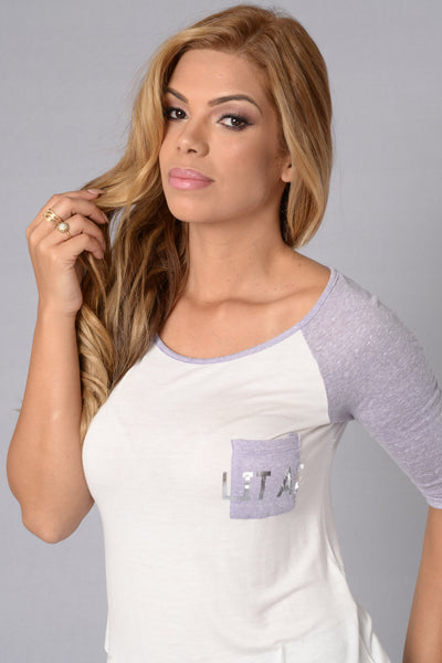 Feelin' Lit Tee - Lavender/White