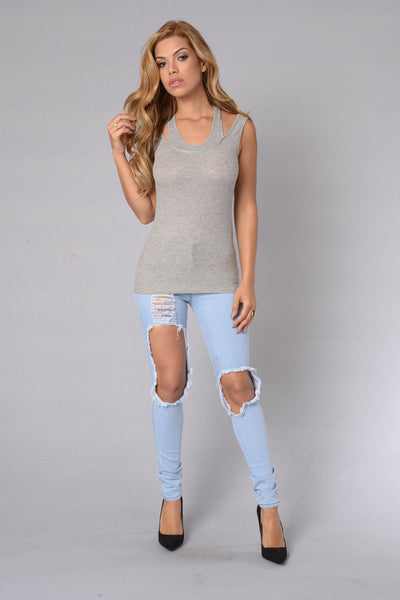 Throw On Tank - Heather Grey