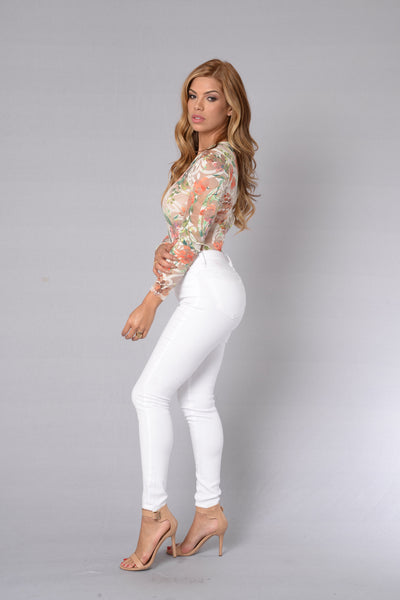 Flowerbomb Bodysuit - Orange/Green
