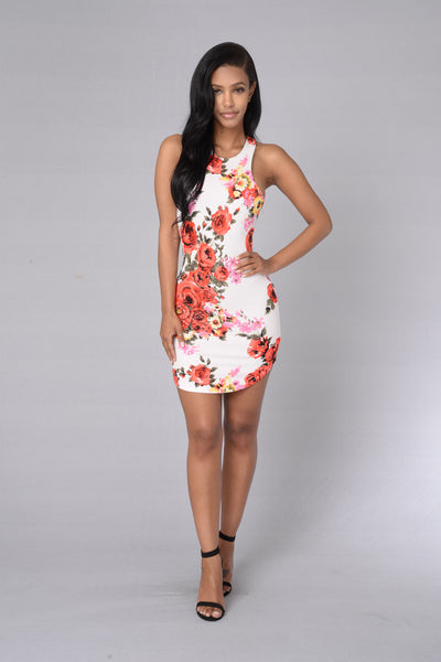 Bed Of Roses Dress - Ivory/Floral