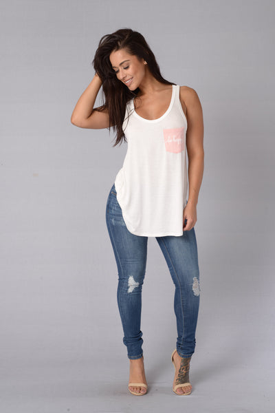 Be Happy Tank - White/Blush